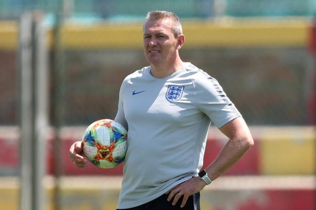 England Under-21s manager Aidy Boothroyd oversees training in Italy