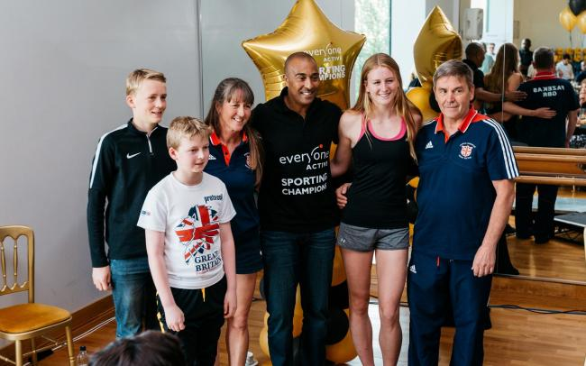 Sporting Champions ambassador Colin Jackson with athletes on the scheme
