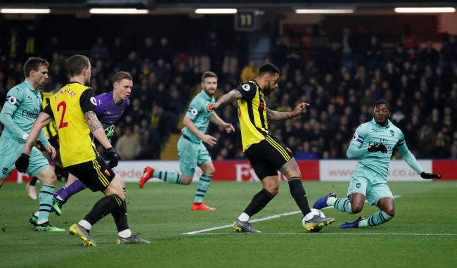 Andre Gray goes close to scoring in Watford's defeat to the Gunners in April. Picture: Action Images