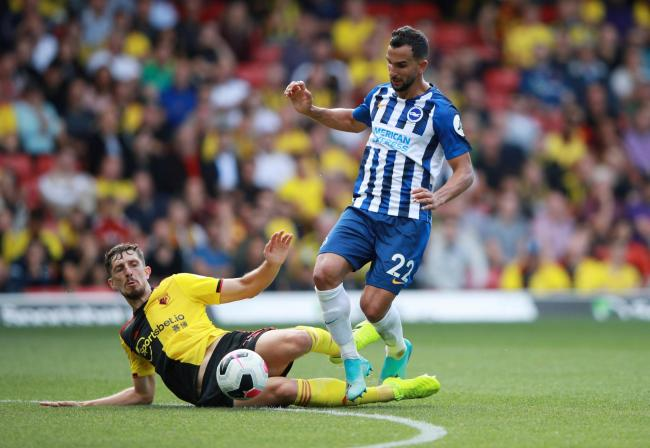 Craig Cathcart challenges Brighton's Martin Montoya. Picture: Action Images