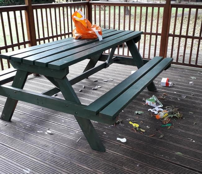 Some of the rubbish on the pavilion (Image: Anne Butlin)