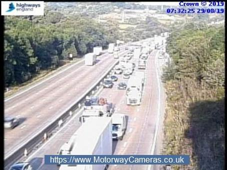 There is queuing traffic on the M25 heading clockwise at J25 due to an accident