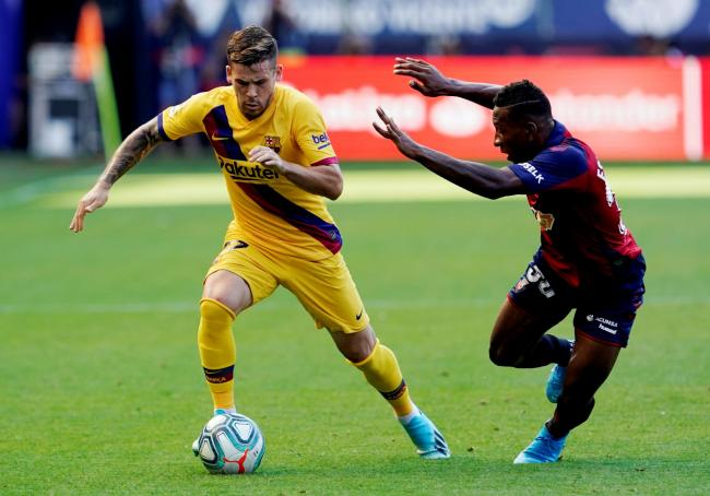 Pervis Estupinan in action for Osasuna against Barcelona. Picture: Action Images