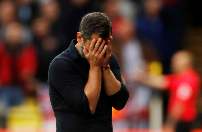 Quique Sanchez Flores puts his head in his hands after one of Watford's missed chances. Picture: Action Images