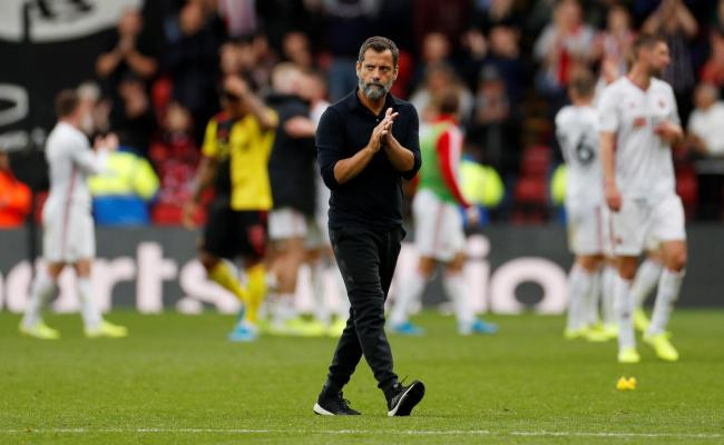 Quique Sanchez Flores applauds the fans at full-time. Picture: Action Images