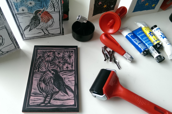 Linocut Classes: Valentines Cards