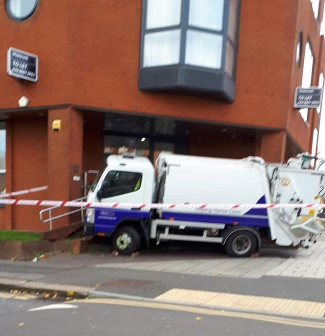 Police were called to reports of an injured person after the bin lorry crashed (Picture:  Anna Arianrhod Loiacono)