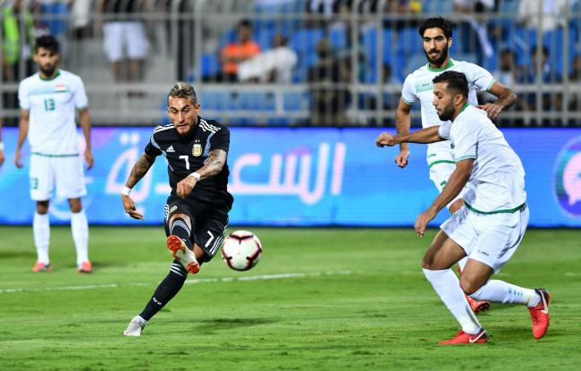 Roberto Pereyra playing against Iraq for Argentina. Picture: Action Images