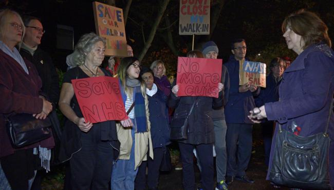 Campaigners outside Belmont Health Centre (Photo: Husain Akhtar)