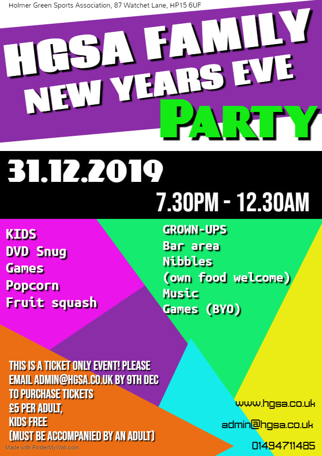 Family New Years Eve Party at Holmer Green Sports Association