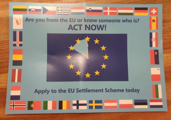 The EU settled status cards sent out by Brent Council (Photo: @redstarneil)