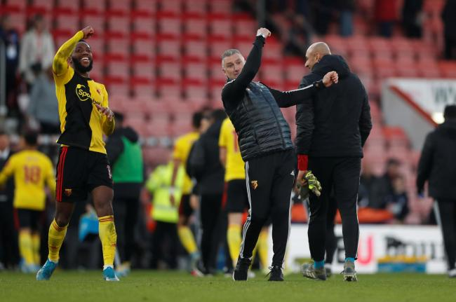 Nigel Pearson celebrates Watford's third goal with Nathaniel Chalobah. Picture: Action Images