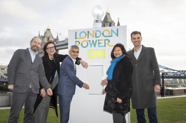 Sadiq Khan flicks the switch on London Power at a ceremony near City Hall (Photo: GLA)