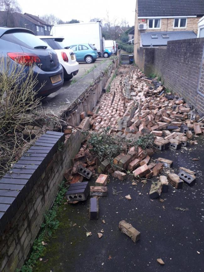 A wall collapsed in Fidler Place