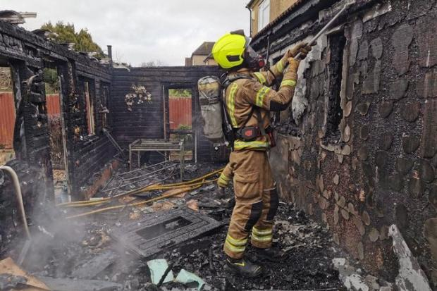A room was completely destroyed at a house in Garston Drive