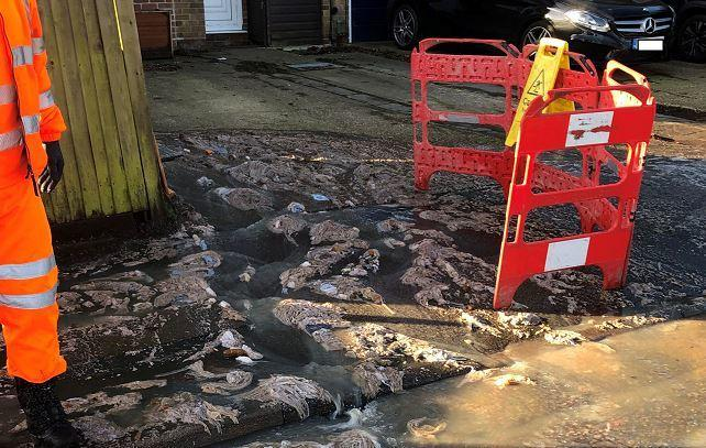 Some of the sewage in Meriden Way this morning. Photo: Cllr Amanda Grimston