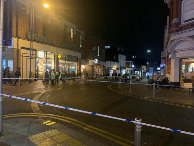 Police cordon in Watford High Street last Friday