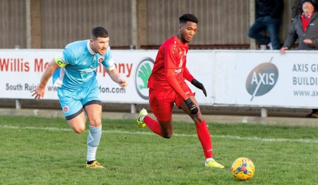 Harrow Borough pictured earlier in thr season against Poole Town. Picture: Bruce Viveash
