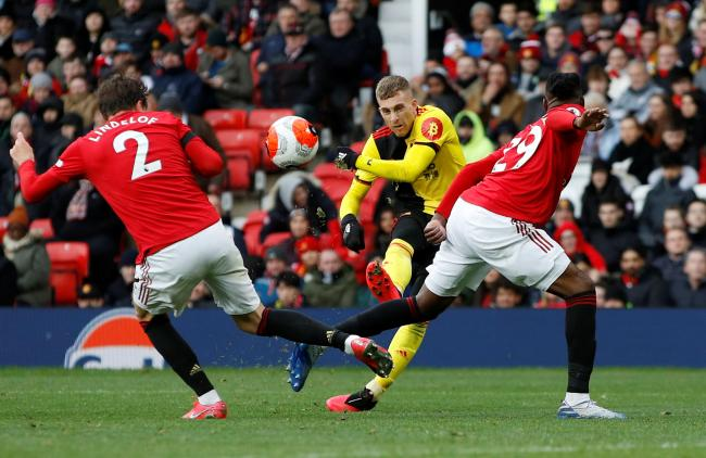 Gerard Deulofeu went close with this shot that hit the top of the crossbar. Picture: Action Images