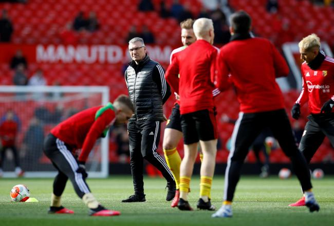 Watford players warming up ahead of their game at Old Trafford. Picture: Action Images
