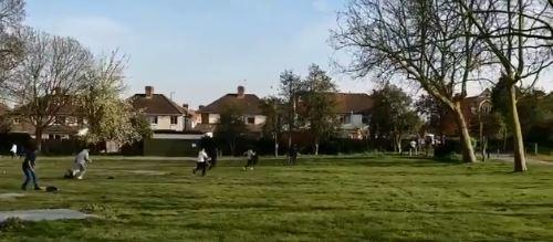 People playing cricket start running after police turned up at the park. Credit: MPS Kensal Green/Twitter