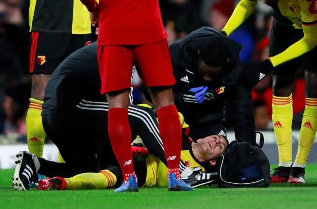 Watford physios assess an injury to Gerard Deulofeu. Picture: Action Images