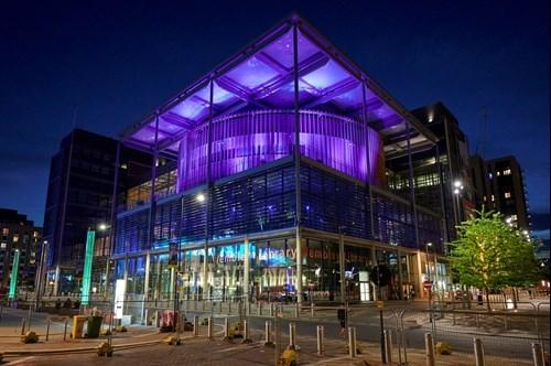 Brent Civic Centre was among those to be lit up purple this week to honour George Floyd (Photo: Brent Council)