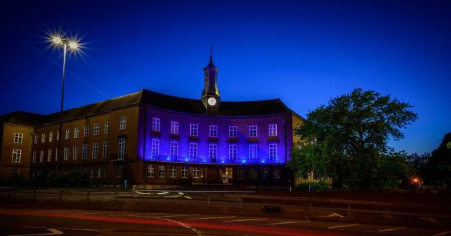 Watford Town Hall has turned blue for the NHS (Photo: Eric Johnson Photography)