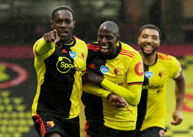 Danny Welbeck celebrates with Abdoulaye Doucoure and Troy Deeney, Picture: Action Images