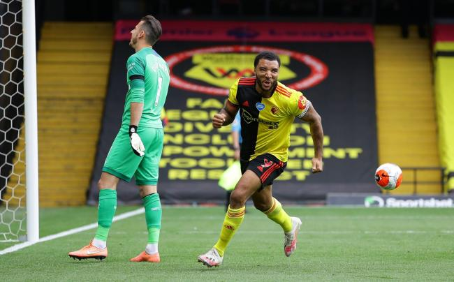 Troy Deeney celebrates his first penalty against Newcastle. Picture: Action Images