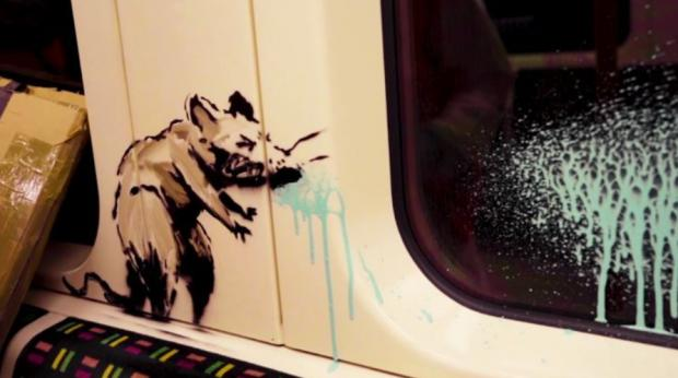Harrow Times: Banksy's sneezing rat reminds us of the dangers of passing on the virus on public transport (Photo: Banksy).
