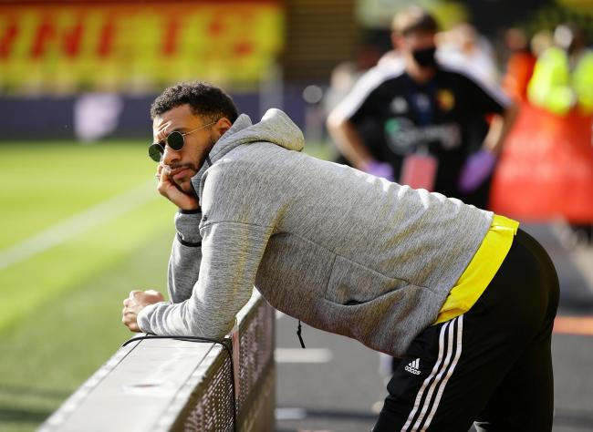 Etienne Capoue watches on from the sidelines as Watford are beaten by Manchester City. Picture: Action Images
