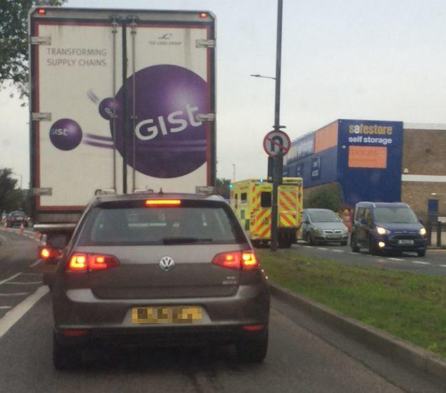 The ambulance had to use the opposite carriageway due to heavy traffic (Photo: Stuart Hyams)