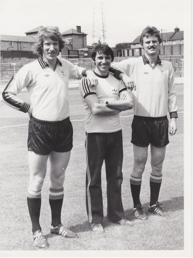 Harrow Times: Lean on me: The Hornets boss flanked by Sam Ellis and Ian Bolton