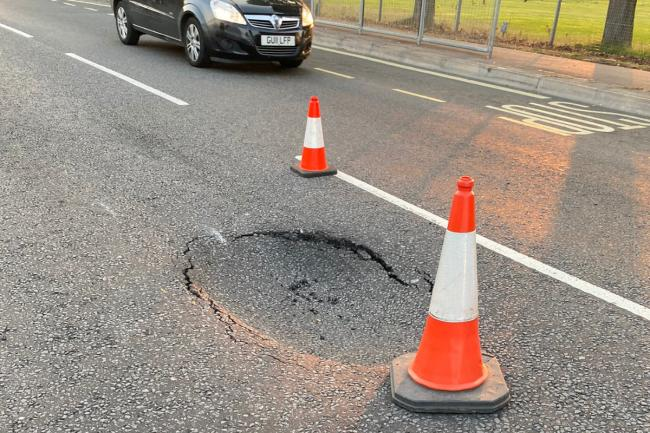 A pothole has damaged a number of vehicles (photo Hertsmere Police)