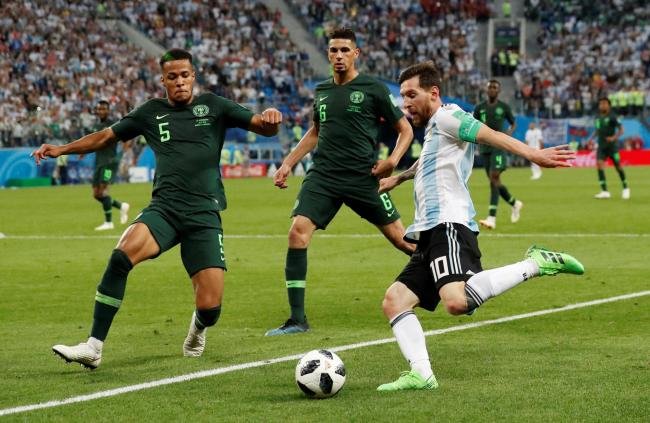 William Troost-Ekong closes down Lionel Messi. Picture: Action Images