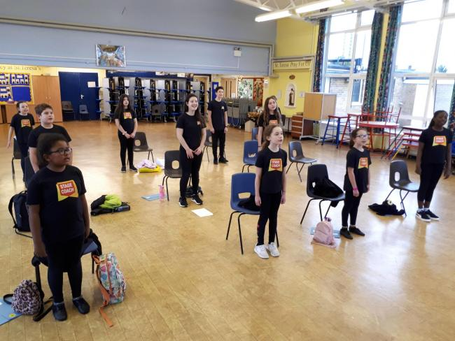 Stagecoach Borehamwood students preparing for their performance at BBC Children in Need