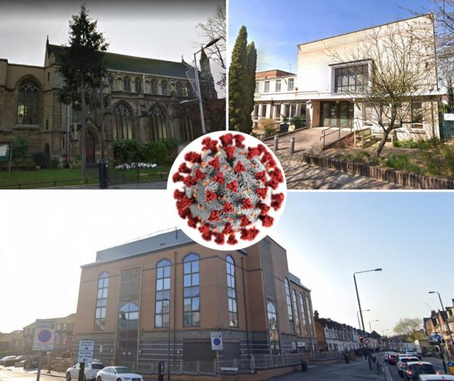(Clockwise) St John's Church, Stanmore and Canons Park Synagogue and Harrow Mosque (Photo: Google Maps)