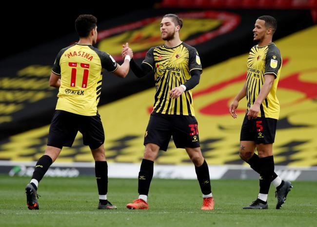 Watford players celebrate their 1-0 win over Sheffield Wednesday. Picture: Action Images
