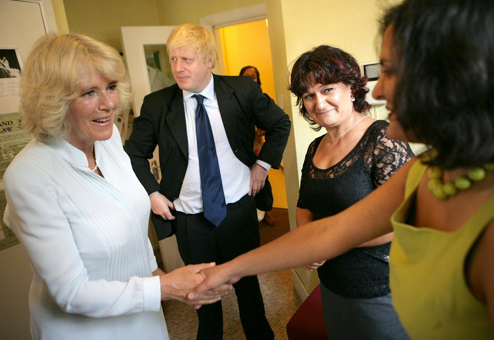 The Duchess of Cornwall meets workers at the Ealing centre with Mayor of London Boris Johnson