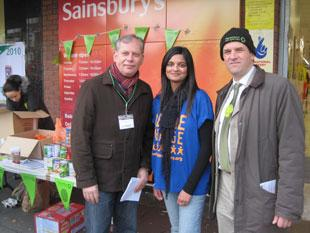Simon Houghton, Church Warden, Golders Green Parish Church; Priya Patel, Shree Swaminarayan Temple, Golders Green; Rabbi Mark Goldsmith, Alyth, North Western Reform Synagogue, Temple Fortune, collected goods from shoppers at Sainsbury's, Golders Green