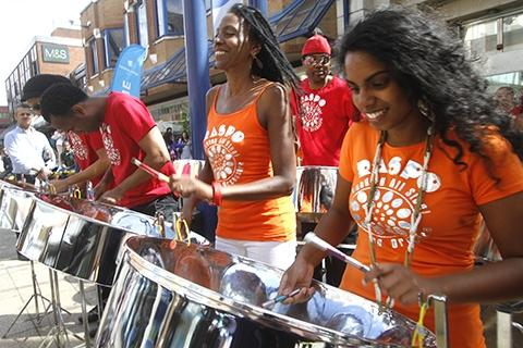 Steel drummers entertained crowds in St Ann's Road.