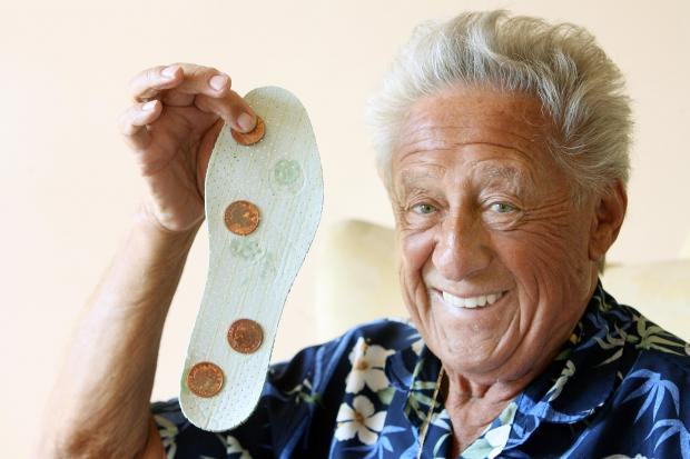 Johnny Franks says sticking the 2p coins on the insoles has cured him.