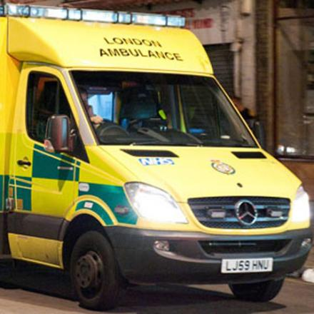 Biker in hospital after collision with van