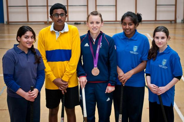 Left to right: Sara Zaidi, 14, Jotham Selvarajah, 14, Chloe Rogers, Yarlini Thiruchelvam, 14, Ancuta Gurau, 13 (photo by Steve Foster)