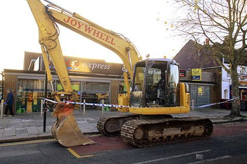 The thieves left behind the mechanical digger they used to steal the cash machine