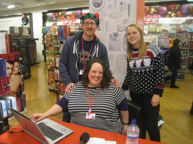 Volunteers raised money by playing Christmas songs for shoppers