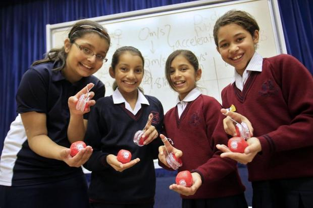 Heathfield School for Girls pupils Niyati, 11, Husaina, 11, Annouka, ten, Holly, ten.