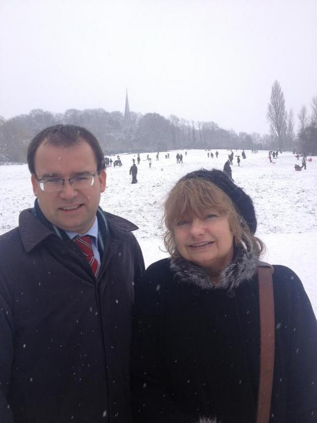 Gareth Thomas MP with Christine Robson at Harrow on the Hill