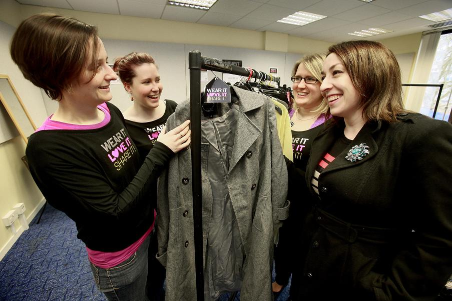 Lisa O'Grady (far right) donated some clothes, she is pictured with Sarah Elliss, Natalie Morgans and Kirsty Waugh